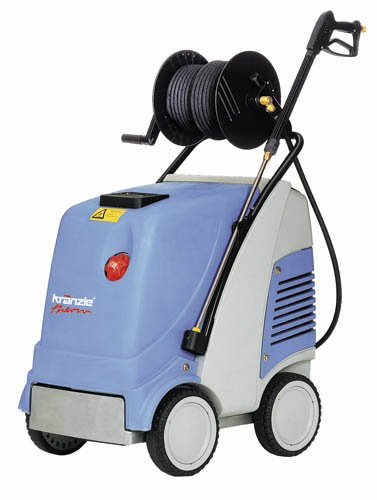 Kranzleusa Therm C 13-180 Hot Water Electric Industrial Pressure Washer With Auto On-Off And 50' Wire Braided Hose On Hose Reel, 2600 Psi, 3.5 Gpm, 220V, 15A, Three Phase