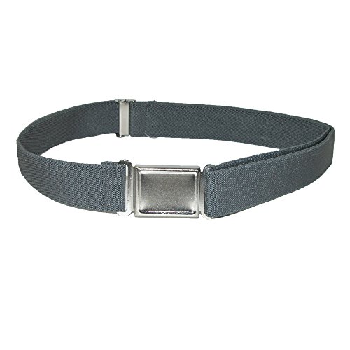CTM® Kids Elastic 1 Inch Adjustable Belt with Magnetic Buckle, Charcoal Grey