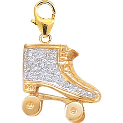 14K DIAMOND ROLLER SKATE CHARM- YELLOW GOLD