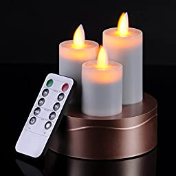 3 Pcs Flickering Flameless LED Candles With Timer 10-key Remote Control Feature Ivory Color And Antique Bronze Candlestick Base