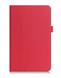 LG G Pad F 8.0 Case Cover, FYY [Full Protection] Premium PU Leather Case with Card Slots, Note Holder, Hand Strap for LG G Pad F 8.0 (AT&T V495/T-Mobile V-496) Red