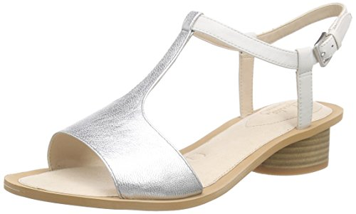 Clarks - Sandcastle Ice, Sandalo da donna, bianco (white/silver leather), 41.5