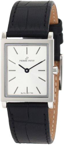 Pierre Petit P-790B - Reloj analógico de cuarzo para mujer con correa de piel, color negro
