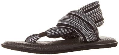Sanuk Women's Yoga Sling 2 Flip Flop,Black/White,5 M US