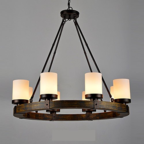 Retro Chandeliers Personality Innovative Style Candelabra Chandeliers Minimalist American Rural Study Living Room Restaurant Cafe Lamps,6 And Frosted Glass (No Light Source (Small Rustic Ceiling Fan compare prices)