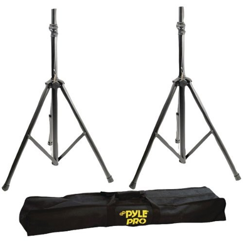 Pyle Pro Pstk103 Heavy-Duty Aluminum Anodizing Dual Speaker Stand With Traveling Bag Kit
