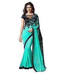 Meera Trendz Women's Georgette Saree(Harshika_Green)