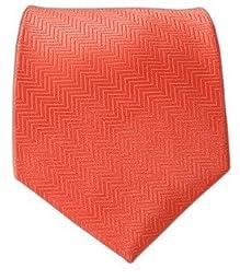 100% Woven Silk Solid Herringbone Coral Tie