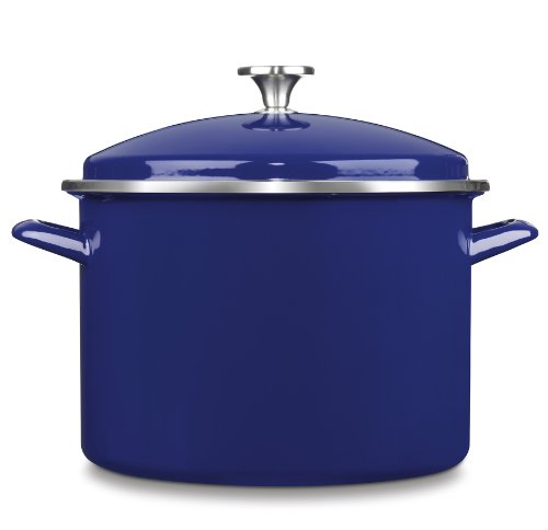 Cuisinart EOS106-28CBL Chef's Classic Enamel on Steel Stockpot with Cover, 10-Quart, Cobalt Blue