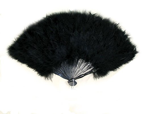 SACAS Large Black Feather Hand Fan New (Feather Fans compare prices)