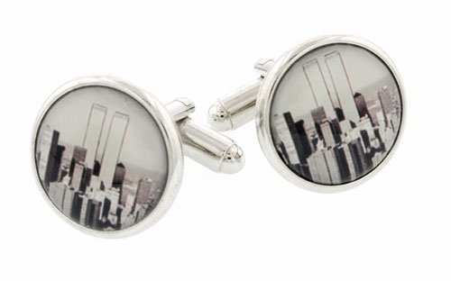 JJ Weston thought provoking silver plated New York City and Twin Towers cufflinks with presentation box. Made in the U.S.A