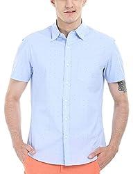 Zobello Men's Holiday Print Miami Shirt(11085C_Light Blue Pindot_Medium)