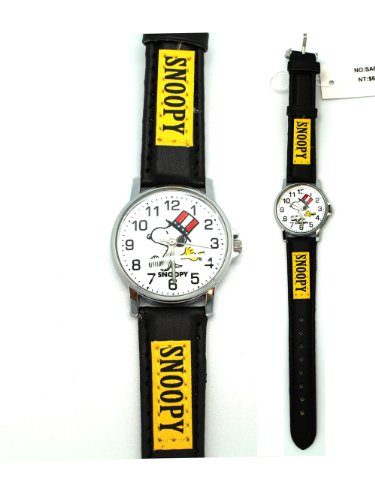 Black and Yellow Leather Band Snoopy Watch - Snoopy Watch