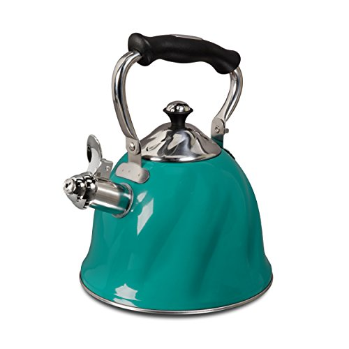 Mr. Coffee Alderton 2.3-Quart Stainless Steel Tea Kettle with Lid, Multi-Size,Green
