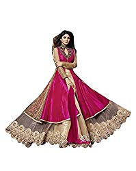 BMR Shilpa Shetty Pink And Cream Neck Embroidered Long Sarara Style Suit With Designer Back With Side Zari Work