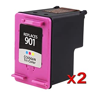 2 Pack Remanufactured Color Ink Cartridges for HP 901 (CC656AN)