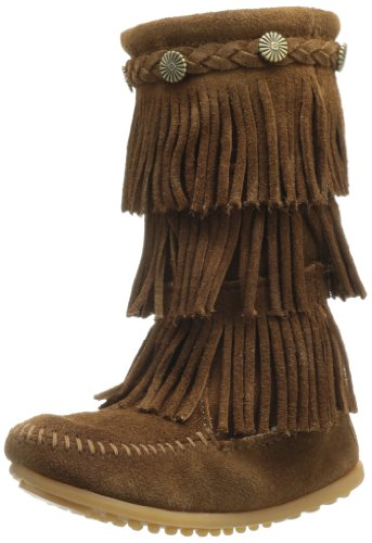 Minnetonka Childrens 3 Layer Fringe Boots - Dusty Brown Sued