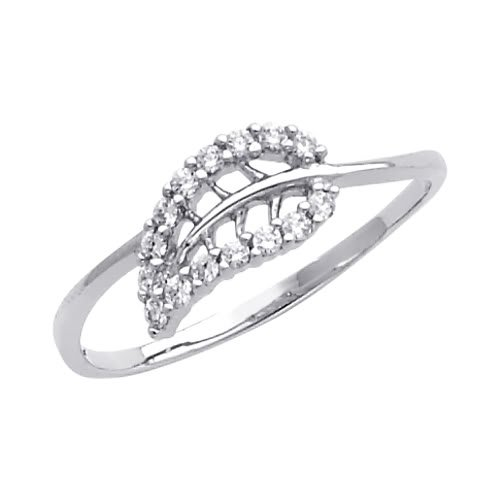 14K White Gold High Poliosh Finish Leaf Round-cut Top Quality Shines CZ Cubic Zirconia Ladies Promise Ring Band - Size 6