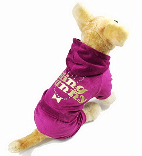 PETLOVE Small Dog Clothes for All Seasons Bling Bunny Print Rhinestone Velvet Dog Pajamas Outfit Purple