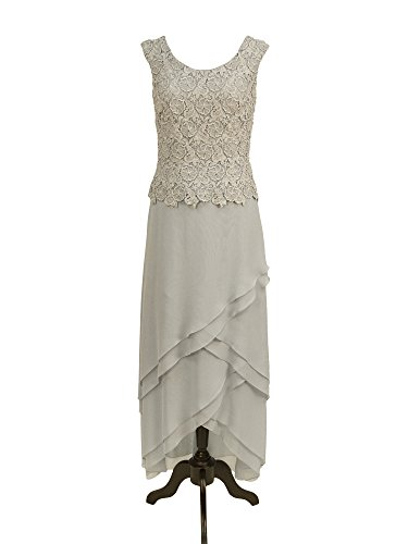 ac83a1ce382 Cameron Blake 13673 Cap Sleeve Lace   Long High Low Chiffon Social Dress  (8P