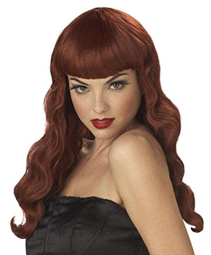 [Popcandy Red Pin Up Girl Adult Long Wavy Wig with Bangs] (Holiday Pin Up Costumes)
