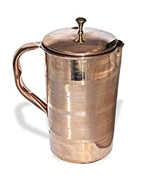 Stylla Line Copper Jug With Lid Ayurvedic copper Line jug