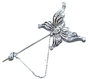 Genuine Diamond Butterfly Brooch/Pin Jewelry 18K White Gold [I_021]