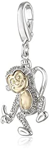 XPY Sterling Silver and 14k Yellow Gold Monkey and Diamond Charm
