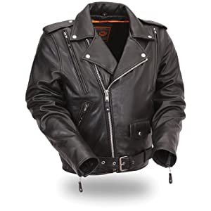 First Manufacturing Vented Leather Men's Classic Motorcycle Jacket (Black, Large)