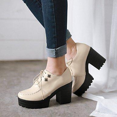 Ruomini scarpe donna ruvida cerchio di tacco sottile punta di scarpe più colori disponibili , Beige-US6.5-7 / EU37 / UK4,5-5 / CN37 , Beige-US6.5-7 / EU37 / UK4,5-5 / CN37