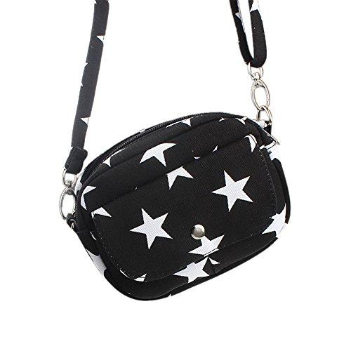 Longra Borse Donna Mini Piccolo Messenger Crossbody borsa a tracolla della borsa (Nero)