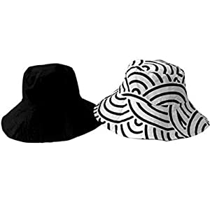 Sun Lily Fashion Flips Reversible Sun Hat with Tote - Womens (Black & White)