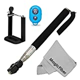 Selfie Accessory Kit for iPhone (5/5s, 4/4S) and Android Phones (Samsung Galaxy, Nexus, HTC, SONY, LG, Motorola) - Includes: Extendable Monopod + Adjustable Phone Holder + Wireless Bluetooth Remote Control Shutter + MagicFiber Microfiber Screen Cleaning Cloth