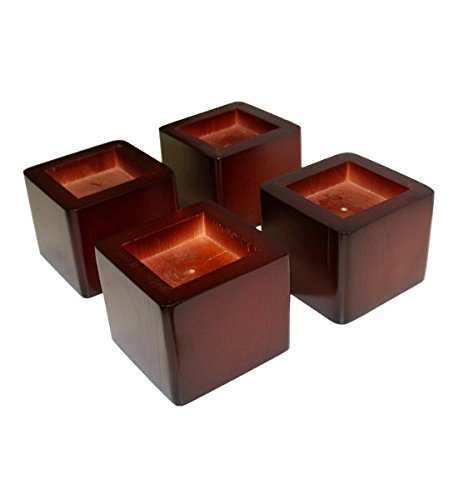 """Wood Bed Lifters (Mahogany) (4.25""""D x 4.25""""W x 3.43""""H) Set Of 4"""