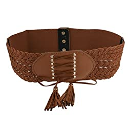 Brown Faux Leather Buckle Stretchy Wide Band Cinch Belt for Woman