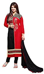 Blissta Back & Red Galze cotton embroidered dress material