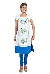 Kandida Women Warli Print Handsketched Embroidered Cotton Kurta (k-fbc-wpeacock-grey2_Grey_M)