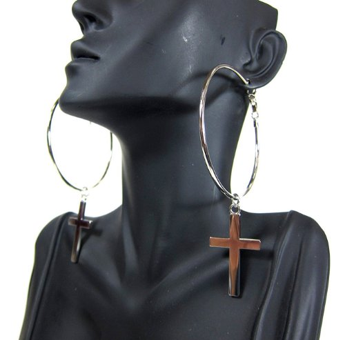 Summer Fashion SILVER Hoop Earrings with Dangle Solid Cross