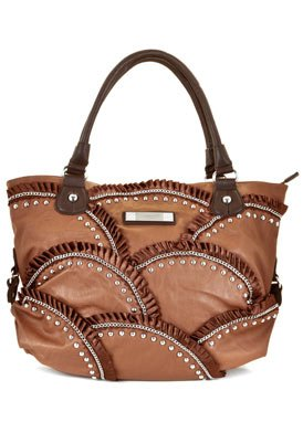 Brown Faux Leather Shoulder Bag: Brown Shoulder Bag