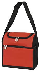 Double Compartment Insulated Cooler , Red by Bags for Less