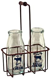 CWI Gifts Small Vintage Milk Bottles with Carrier, 9\