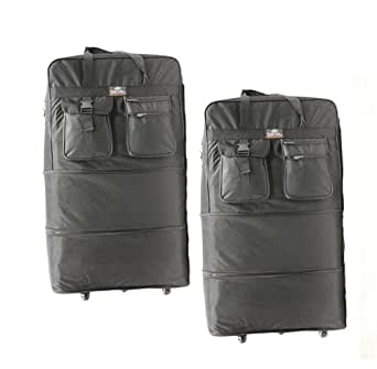 """Pack of 2, 40"""" Expandable Wheeled Bags Rolling Duffel Spinner Luggage"""