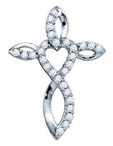 Pricegems 14K White Gold Ladies Round Brilliant Diamond Cross Pendant (0.31 cttw, H-I Color, I1/I2 Clarity)