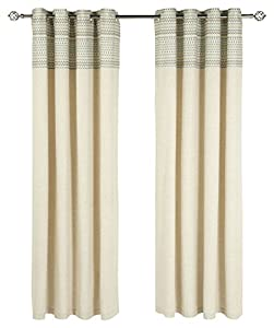 """Orkney Geometric 90"""" X 90"""" Cream Teal Lined Ring Top Curtains #arada *iliv* by PCJ Supplies"""