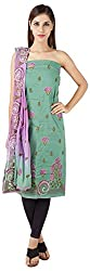 Bee Gee Boutique Women's Synthetic Unstitched Dress Materials (BG-51, Green & Purple)
