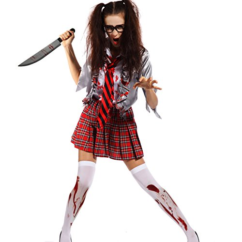 Ladies Horror Zombie School Girl Schoolgirl Costume Halloween