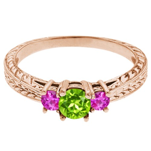 0.56 Ct Round Green Peridot Pink Sapphire 18K Rose Gold 3-Stone Ring