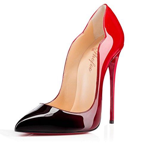 SHOFOO-Femmes-Stiletto-Dgrad-Rouge-Noir-Cuir-synthtique-Talon-aiguille-Bout-en-amande-ferm