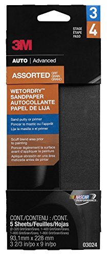 """3M 03024 Imperial Wetordry 3-2/3"""" x 9"""" Sandpaper with Assorted Grit Sizes"""