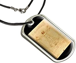 Leonardo Da Vinci The Vitruvian Man Military Dog Tag Black Cord Necklace